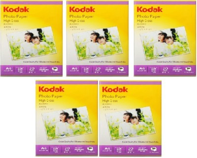 Kodak Kodak Photo Paper High Gloss 200 GSM A4 Size 100 sheets Unruled A4 Photo Paper(Set of 5, White)