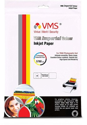 VMS Imperial Colour HighGlossy Resin Coated Inkjet Photo Paper 4R (4x6 inch) 260 GSM Unruled 4x6 Inkjet Paper(Set of 1, White)