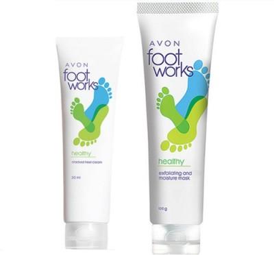 Avon Cracked Heel Cream (50 g)+ Exfoliating & Moisture Mask (100g)(150 g, Set of 2)