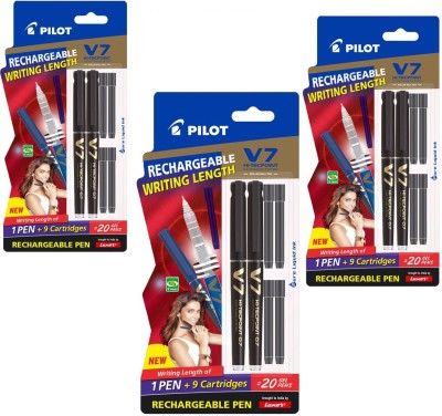 Pilot V7 Hi-tecpoint Roller Ball Pen with Cartridge System - 2 Black Pens, 4 Black cartridges Roller Ball Pen(Pack of 3)  available at flipkart for Rs.399