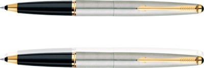 Parker Galaxy Stainless Steel Gold Trim Roller Ball Pen(Pack of 2)  available at flipkart for Rs.850