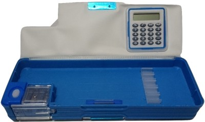 Highlight Calculator Blue Art Plastic Pencil Box(Set of 1, Blue)
