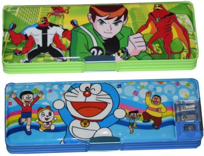 Tara Lifestyle Doraemon and Ben 10 Printed Art Plastic Pencil Boxes(Set of 1, Multicolor)