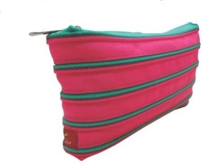Trio Zipper Cloth Pencil Box(Green, Pink)