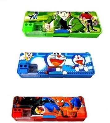 Ashmaadi Unisex Cartoons/Characters Art Plastic Pencil Boxes(Set of 3, Multicoloured)