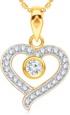 VK Jewels Stone in Heart 18K Yellow Gold Cubic Zirconia Alloy Pendant