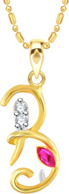 VK Jewels Initial Letter B Ganesh 18K Yellow Gold Cubic Zirconia Alloy Pendant