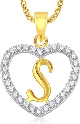 Meenaz S Alphabet Heart Pendant Brass Cubic Zirconia, Crystal Alloy Pendant at flipkart