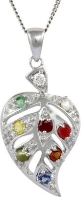 Exxotic Jewelz Paan Leaf Rhodium Ruby, Sapphire, Emerald, Pearl, Cat