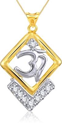 Vidhi Jewels Gold Om 18K Yellow Gold Cubic Zirconia Alloy, Brass Pendant