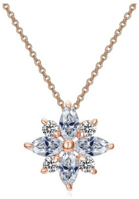 WearYourFashion Austrian Black Rose Gold-plated Crystal Alloy Pendant