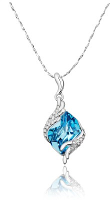 Yellow Chimes Shinning Square Sterling Silver Swarovski Crystal Sterling Silver Pendant at flipkart