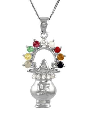 Exxotic Jewelz Swastik Kalash Rhodium Ruby, Sapphire, Emerald, Pearl, Cat