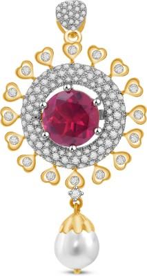 Vijisan 12.75 Ct. Red Stone Designer Women's 18K Yellow Gold Cubic Zirconia Sterling Silver Pendant at flipkart