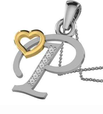 Kataria Jewellers Letter P 14Kt BIS Hallmarked Gold Alphabet Initial White Gold Plated 14kt Diamond Yellow Gold Pendant at flipkart