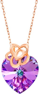 Yellow Chimes Provincial Heart Sterling Silver Swarovski Crystal Sterling Silver Pendant at flipkart
