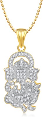 Meenaz Ganpati God Pendant With Chain Cz Gifts Jewellery Set Brass, Yellow Gold Cubic Zirconia, Diamond Alloy Pendant at flipkart