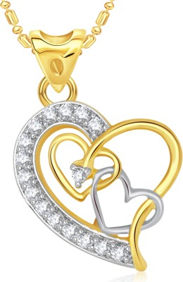 VK Jewels Twice Heart Valentine 18K Yellow Gold Cubic Zirconia Alloy Pendant