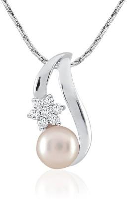 Kiara Jewellery Deepika Pearl Rhodium Swarovski Crystal Sterling Silver Pendant