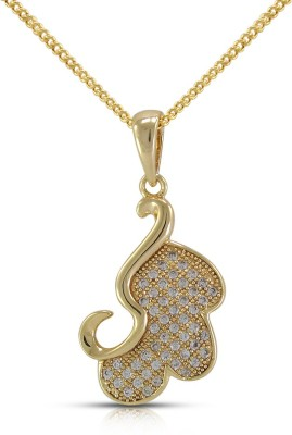 Fabfashion Love Heart Yellow Gold Cubic Zirconia Alloy Pendant at flipkart