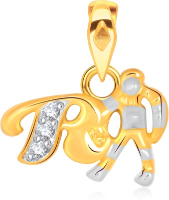 VK Jewels Alphabet Collection Initial Letter V Gold-plated Cubic Zirconia Alloy Pendant