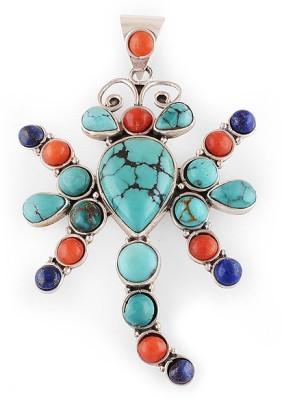 Silver Prince Designer Coral, Lapis Lazuli, Turquoise Silver Pendant