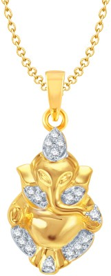 Meenaz Ganesha Of Yellow Gold God With Chain In American Diamond Cz Gifts Jewellery Set Gold-plated, Brass Cubic Zirconia, Diamond Alloy Pendant