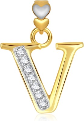 VK Jewels Initial Letter R Gold-plated Cubic Zirconia Alloy Pendant