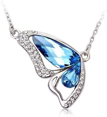 Shining Diva Butterfly 18K White Gold Crystal Alloy Pendant at flipkart