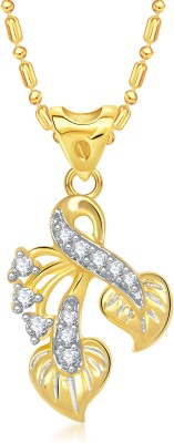 VK Jewels Dual Leaf Yellow Gold Cubic Zirconia Alloy Pendant