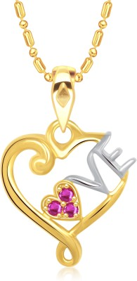 VK Jewels Love Heart Yellow Gold Cubic Zirconia Alloy Pendant at flipkart
