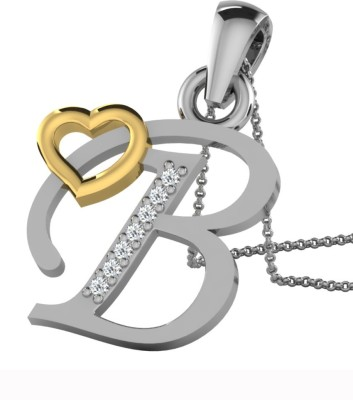 Kataria Jewellers Letter B 14Kt BIS Hallmarked Gold Alphabet Initial White Gold Plated 14kt Diamond Yellow Gold Pendant at flipkart