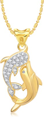 VK Jewels Dual Dolphin 18K Yellow Gold Cubic Zirconia Alloy Pendant