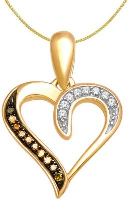 Voylla Semi pricious Love Plain Rhodium Citrine Sterling Silver Pendant
