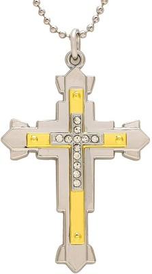 Memoir Brass Gold Tone Jesus Christ Crucifix Cross locket chain Locket Necklace,for Men and Women Brass Pendant