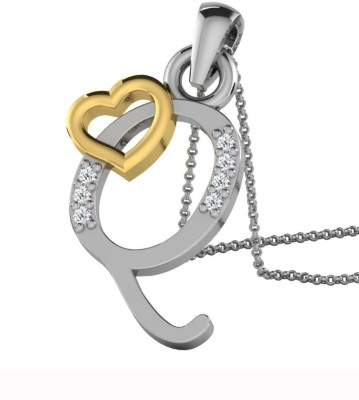Kataria Jewellers Letter Q 14Kt BIS Hallmarked Gold Alphabet Initial White Gold Plated 14kt Diamond Yellow Gold Pendant at flipkart
