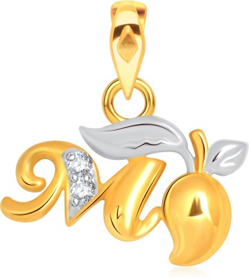 VK Jewels Alphabet Collection Initial Letter T 18K Yellow Gold Cubic Zirconia Alloy Pendant