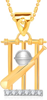 VK Jewels Cricket Bat Ball & Stumps 18K Yellow Gold Cubic Zirconia Alloy Pendant