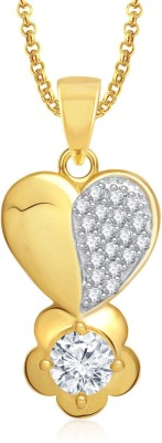 Meenaz Heart Pendant Locket With Chain For Women Love Valentine Gifts Brass Cubic Zirconia, Diamond Alloy Pendant  available at flipkart for Rs.299