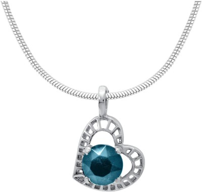 Mahi Light Blue Stylized Heart Rhodium Swarovski Crystal Alloy Pendant