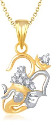 Meenaz Om Ganesha Ganpati Yellow Gold God With Chain Cz Gifts Jewellery Set Gold-plated, Brass Cubic Zirconia, Diamond Alloy Pendant