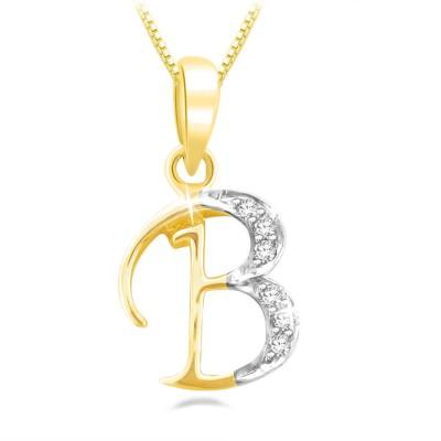 45436c6b42bfa Sparkles Beautiful B Shape Diamond Yellow Gold Pendant