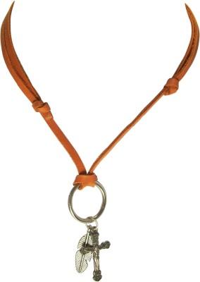 Men Style Vintage Style Double Ring Locket Adjustable Leather Cord Rhodium Leather, Alloy Pendant Set