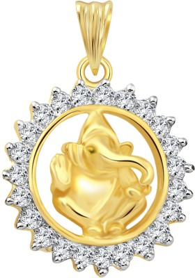 Vighnaharta Shri Lambodar 18K Yellow Gold Cubic Zirconia Alloy Pendant