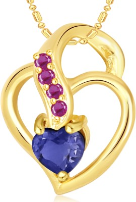 VK Jewels Well Crafted Blue Stone Heart Valentine Gold-plated Cubic Zirconia Alloy Pendant