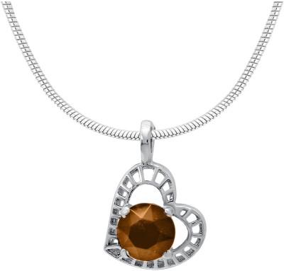 Mahi Brown Stylized Heart Rhodium Swarovski Crystal Alloy Pendant