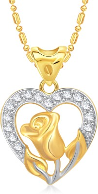VK Jewels Rose in Heart Gold-plated Cubic Zirconia Alloy Pendant