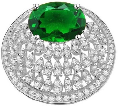 Vijisan 13.24 Ct.Oval Style Green Emerald 18K White Gold Cubic Zirconia, Emerald Silver Pendant at flipkart