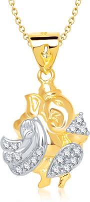 Meenaz Ganesha Ganpati Yellow Gold God With Chain Cz Gifts Jewellery Set Gold-plated, Brass Cubic Zirconia, Diamond Alloy Pendant