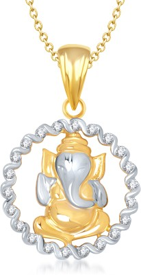 Meenaz Laxmi Yellow Gold God With Chain Cz Gifts Jewellery Set Gold-plated, Brass Cubic Zirconia, Diamond Alloy Pendant